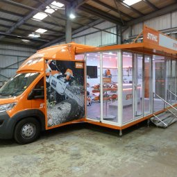 Stihl exhibition unit deployed on show side threequarter view