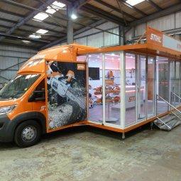 Stihl exhibition unit deployed on show side threequarter view