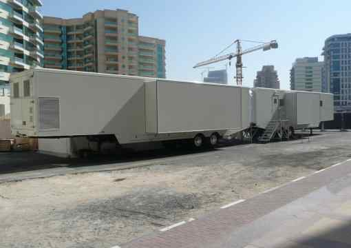 Yemen Mobile Hospital deployed in Dubai showing operating theatre and reception trailers linked